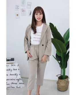 Korea OL Style Coat + Rubber Long Pant [Set] (Khaki)