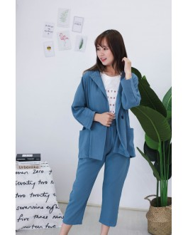 Korea OL Style Coat + Rubber Long Pant [Set] (Blue)
