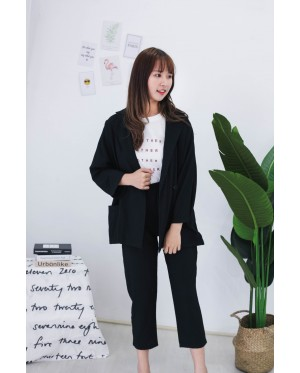 Korea OL Style Coat + Rubber Long Pant [Set] (Black)