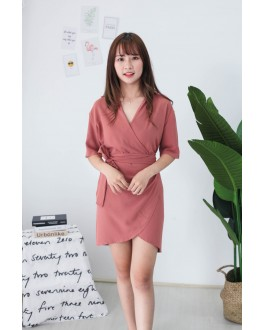 Korea V Collar Dress (Brick) - BACKORDER BATCH 2 ETA 27 AUG