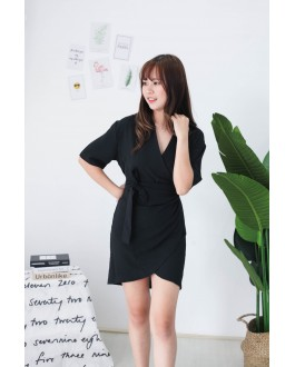 Korea V Collar Dress (Black) - BACKORDER BATCH 2 ETA 26 AUG