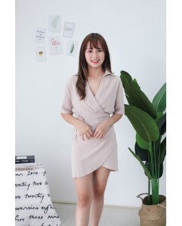 Korea V Collar Dress (Beige)
