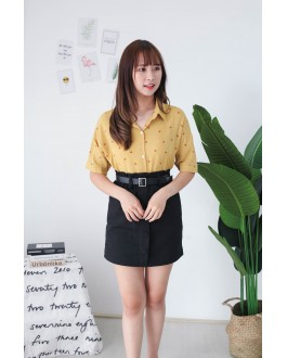 Korea Flower Chiffon Short Sleeve Blouse (Mustard)