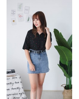 Korea Flower Chiffon Short Sleeve Blouse (Black)