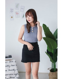 Korea Button Front V Collar Sleeveless Knit Top (Blue)