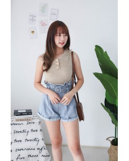Korea Button Front V Collar Sleeveless Knit Top (Khaki)