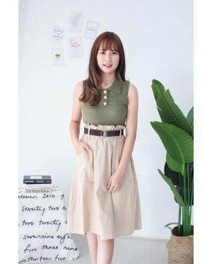 Korea Button Front V Collar Sleeveless Knit Top (Green)