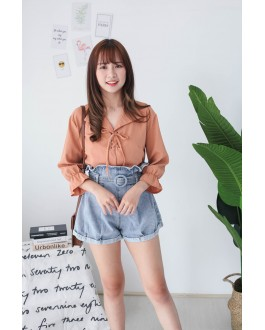 Korea Polka Dot Lace Up Long Sleeve Blouse (Brown) - BACKORDER ETA 30 AUG