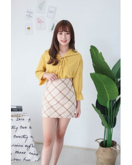 Korea Polka Dot Lace Up Long Sleeve Blouse (Mustard)