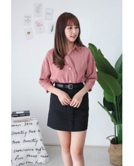 Korea Stripe Elbow Length Sleeve Blouse (Brown) - BACKORDER ETA 30 AUG