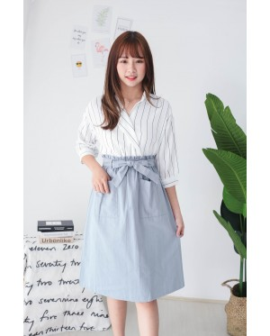 Korea Stripe Elbow Length Sleeve Blouse (White)