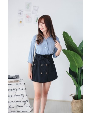 Korea Stripe Elbow Length Sleeve Blouse (Blue) - BACKORDER ETA 30 AUG
