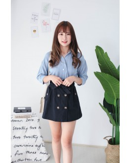 Korea Stripe Elbow Length Sleeve Blouse (Blue)