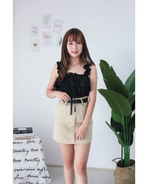 Korea Button Off Shoulder Top (Black)