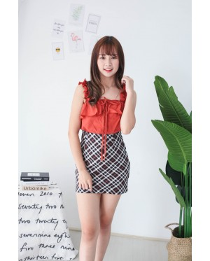 Korea Button Off Shoulder Top (Brick)