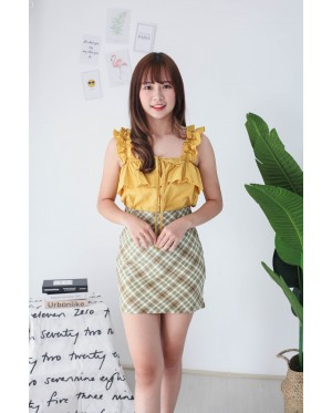 Korea Button Off Shoulder Top (Mustard) - BACKORDER ETA 26 AUG