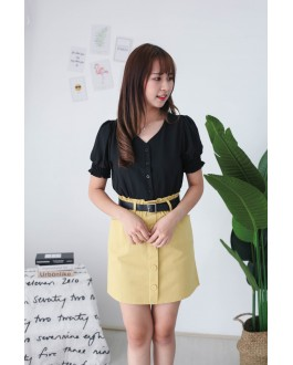 Korea Button Short Sleeve Top (Black)