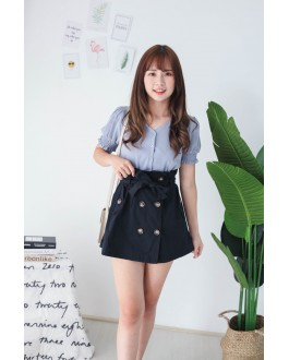 Korea Button Short Sleeve Top (Blue)