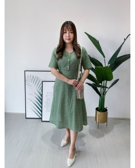 Korea Checks V Neck Ribbon Tie Dress (Green)