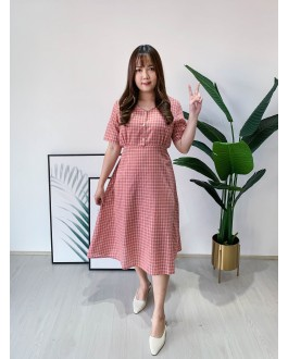 Korea Checks V Neck Ribbon Tie Dress (Pink)