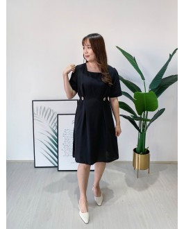 Korea Vintage Style Square Neck Button Waist Short Sleeve Dress (Black)