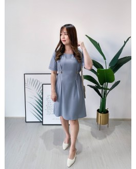 Korea Vintage Style Square Neck Button Waist Short Sleeve Dress (Blue)
