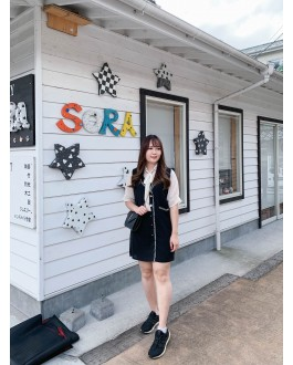 Korea Channel Style Fake Two Piece Dress (Black)