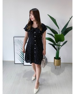 Korea Vintage Style Love Button Front Fluted Short Sleeve Dress (Black)