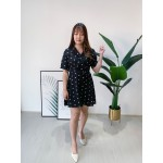 Korea Polka Dot V Collar With Ribbon Tie Short Dress (Black)