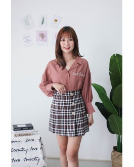 Korea Checks & Button A Line High Waist Skirt (Black)