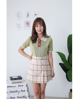 Korea Checks & Button A Line High Waist Skirt (Khaki)