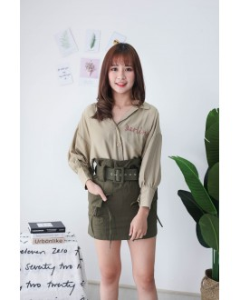 Korea Double Pocket High Waist Skirt With Belt (Army Green)