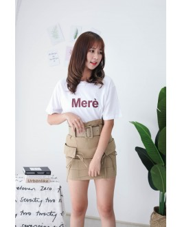 Korea Double Pocket High Waist Skirt With Belt (Khaki)