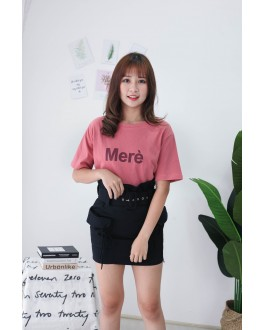 Korea Double Pocket High Waist Skirt With Belt (Black)