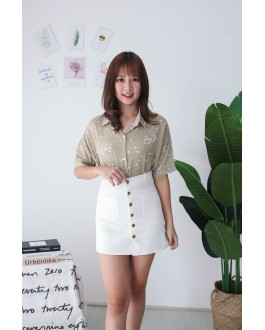 Korea Button & Double Pocket High Waist Denim Skirt (White)