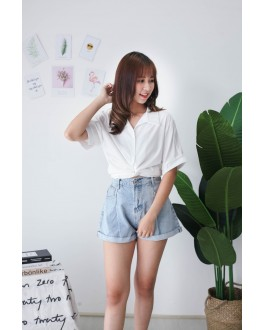 Korea Basic High Waist Denim Short Pant With Pocket (Blue)