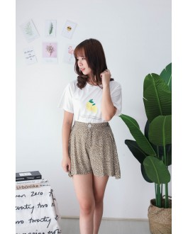 Korea Leaf Chiffon High Waist Rubber Short Pant  (Green)