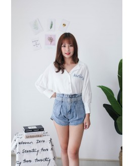Korea Double Button High Waist Denim Short Pant With Belt (Blue)