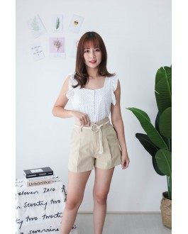 Korea High Waist Short Pant With Pocket & Rope Ring Belt (Khaki)