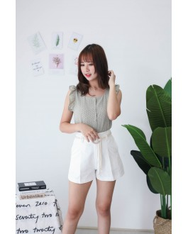 Korea High Waist Short Pant With Pocket & Rope Ring Belt (White)