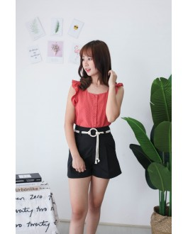 Korea High Waist Short Pant With Pocket & Rope Ring Belt (Black)
