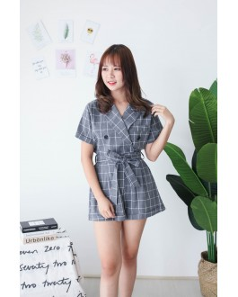 Korea Checks V Collar Short Sleeve Top + Rubber Short Pant [Set] (Grey)