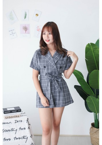 Korea Checks V Collar Short Sleeve Top + Rubber Short Pant [Set] (Grey) - BACKORDER ETA 23 SEP