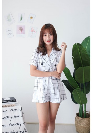 Korea Checks V Collar Short Sleeve Top + Rubber Short Pant [Set] (White) - BACKORDER ETA 23 SEP