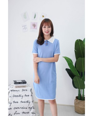 Korea Polo Style Knit Dress (Blue)