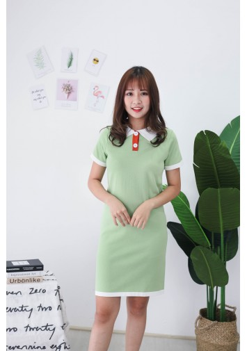 Korea Polo Style Knit Dress (Green)