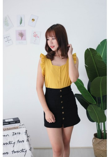 Korea Polka Dot Fluted Sleeveless Top (Mustard)