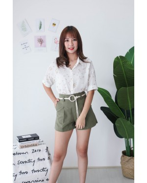 Korea Flower Chiffon Short Sleeve Blouse (White)