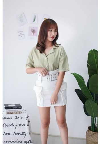 Korea V Collar Button Short Sleeve Blouse (Green)