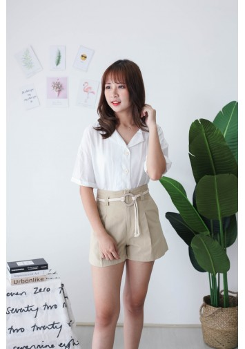 Korea V Collar Button Short Sleeve Blouse (White)